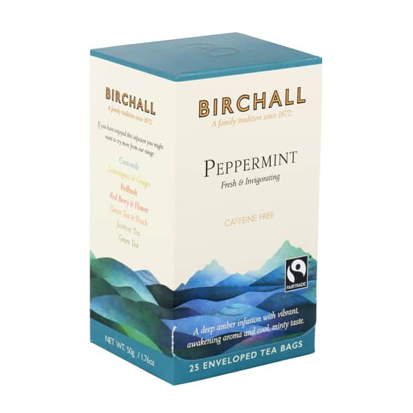 Birchall Peppermint Tea is a classic herbal tea made from only the finest pure peppermint leaves. Peppermint is traditionally acknowledged to aid digestion and this luxurious single mint infusion is entirely caffeine free.